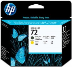 HP - HP C9384A ORJİNAL MAT SİYAH+SARI KAFA KARTUŞ NO:72