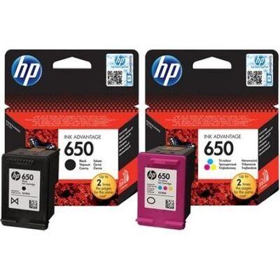HP 650 SİYAH VE RENKLİ İKİLİ SET CZ101AE CZ102AE